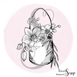 Tampon Pot à lait & Orchidées
