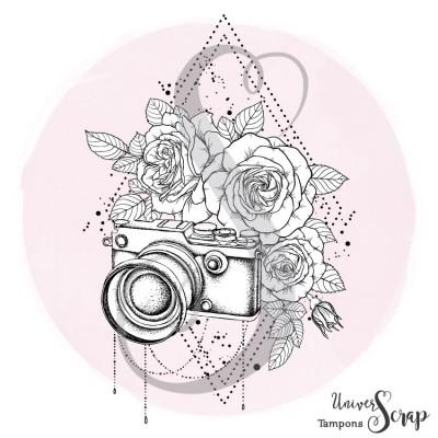 Tampon Appareil photo fleuri