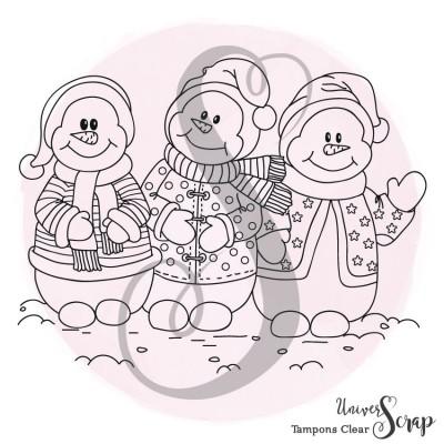 1 Tampon Clear Bonhommes de neige