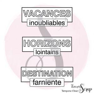 3 Tampons Clear Etiquettes Vacances
