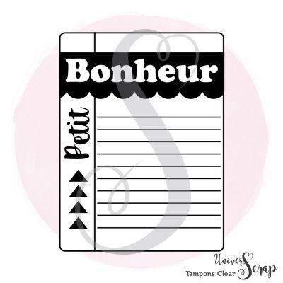 1 Tampon Clear Tag Bonheur