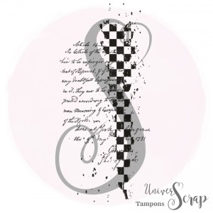 Tampon Damier et script grunge