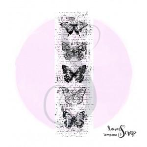 Tampon 5 Papillons grungy