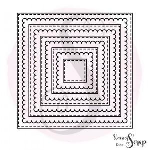 Dies 9 carrés fausse couture & son feston
