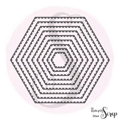Dies 9 hexagones fausse couture