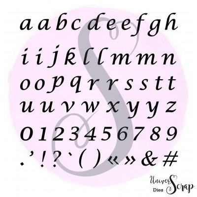 Dies Alphabet script