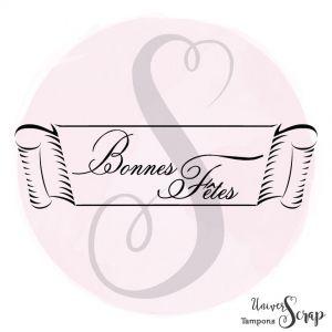 """Tampon Etiquette """"Bonnes Fêtes"""""""
