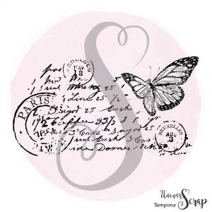 Tampon Collage écriture & papillon