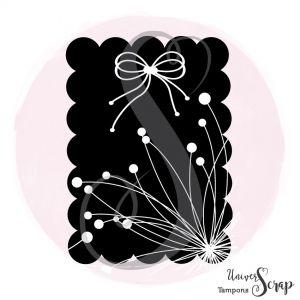 Tampon Etiquette festonnée fleurs